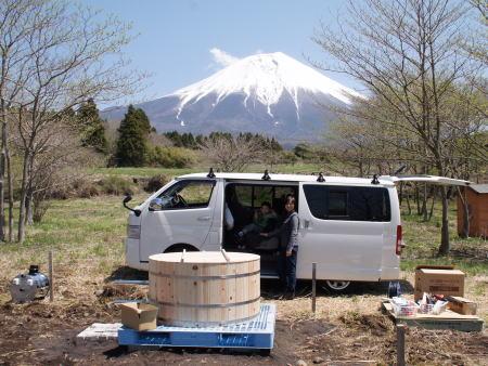 富士山と檜風呂